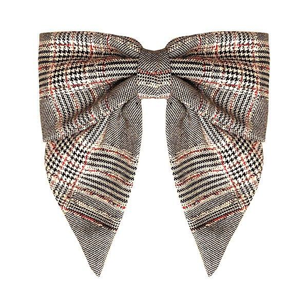 Fivela de Laço de Tweed Vermelho, Preto e Branco