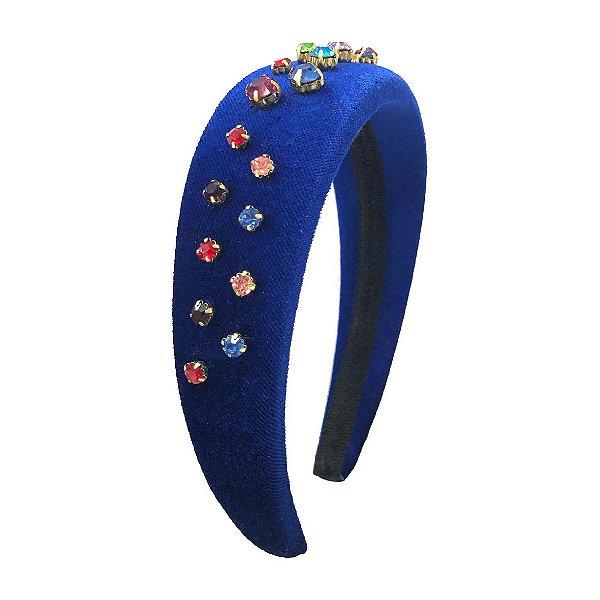 Tiara Alta de Veludo Azul Royal Gotas Coloridas