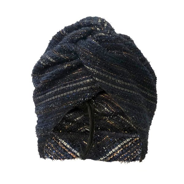 Turbante Fechado de Tweed Azul Listrado