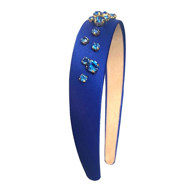 Tiara de Cetim Azul Gotas Azuis
