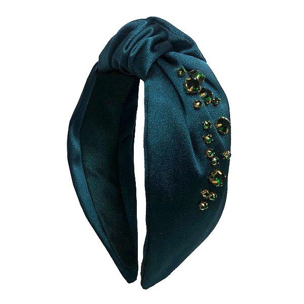 Turbante de Cetim Esmeralda Com Gotas