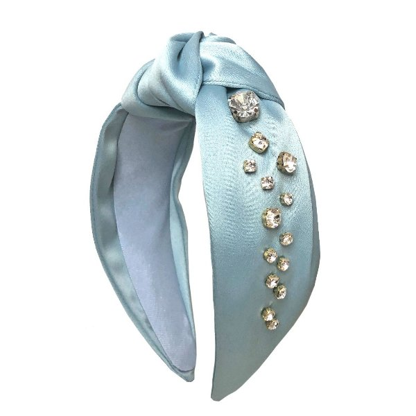 Turbante de Cetim Azul Cinderela Com Gotas