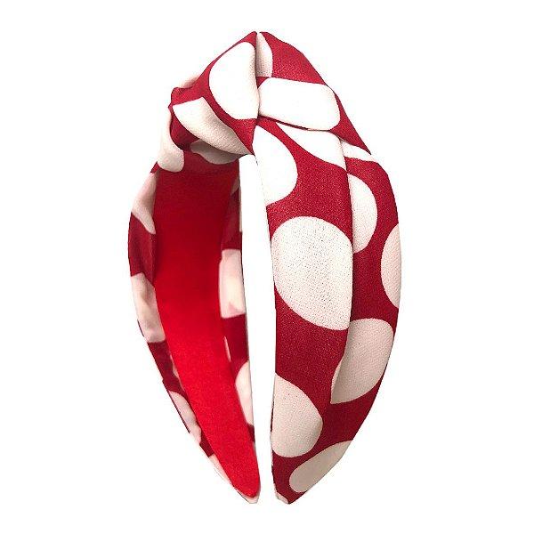 Turbante Vermelho Bolas Brancas