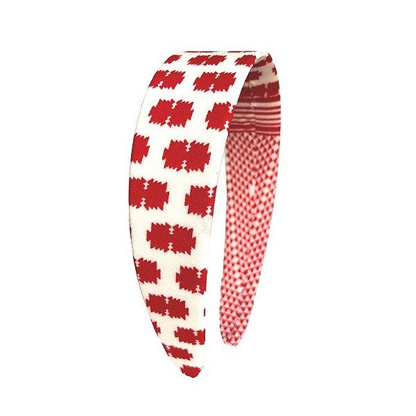 Tiara Flat Estampa Vermelho e Branco