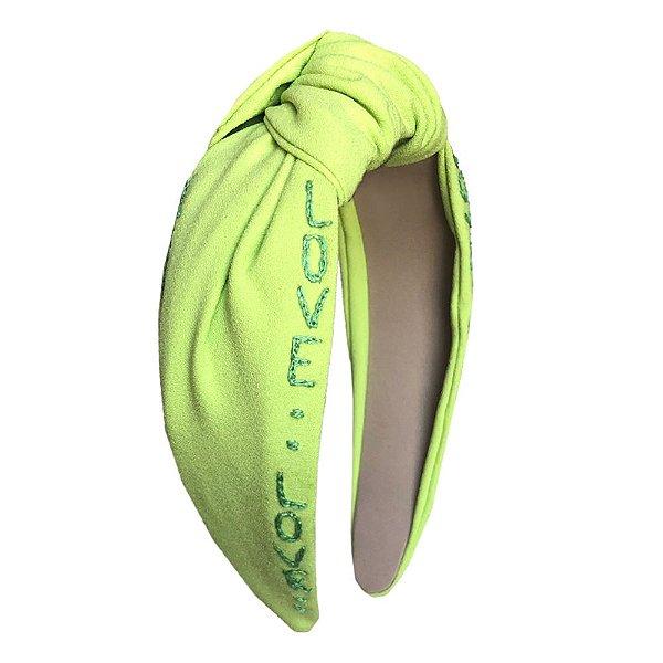 Turbante de Verde Limão Bordado Love