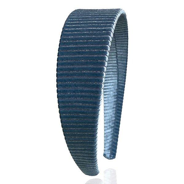 Tiara Flat Veludo Cotelê Azul Petróleo Brilho