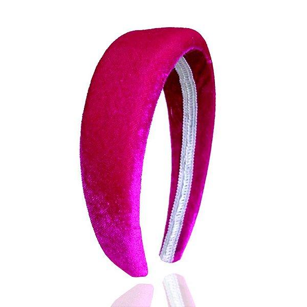 Tiara de Veludo Com Espuma Pink