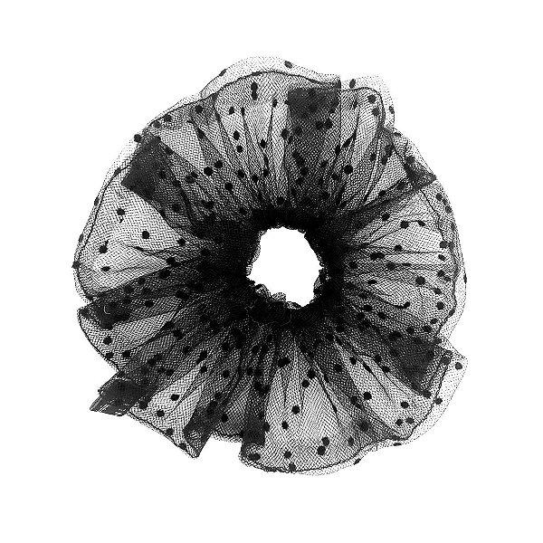 Elástico - Scrunchie de Tule Preto de Poá