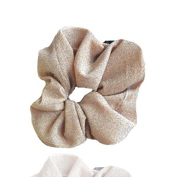 Elástico - Scrunchie de Lamê Rosa Claro