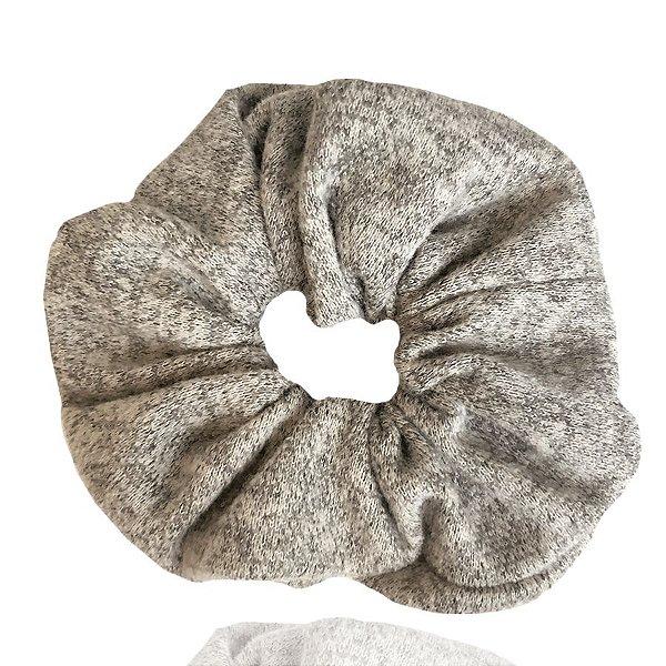 Elástico - Scrunchie de Malha Cinza Mescla