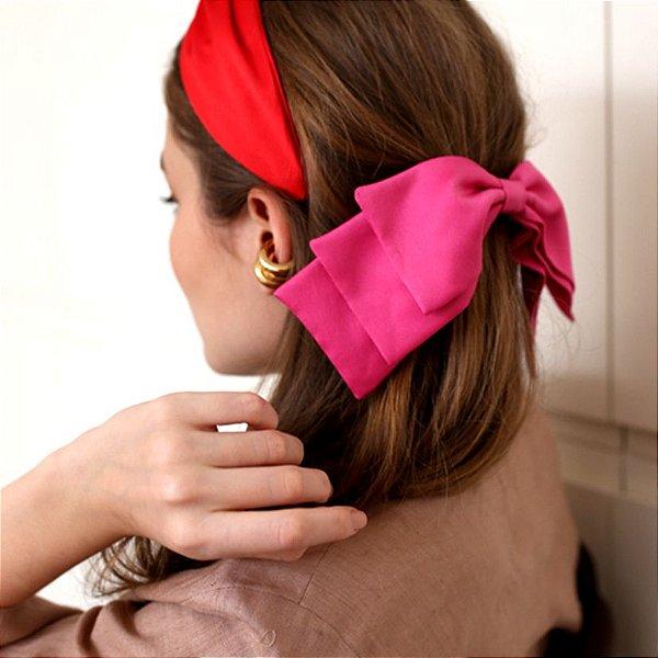 Fivela de Laço Camadas de Cetim Pink