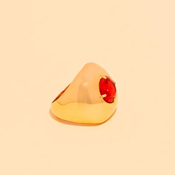 Anel de Dedinho Cristal Vermelho Ruby