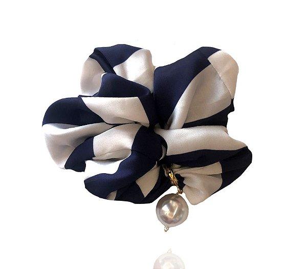 Elástico - Scrunchie Maxi Pérola Azul e Branco