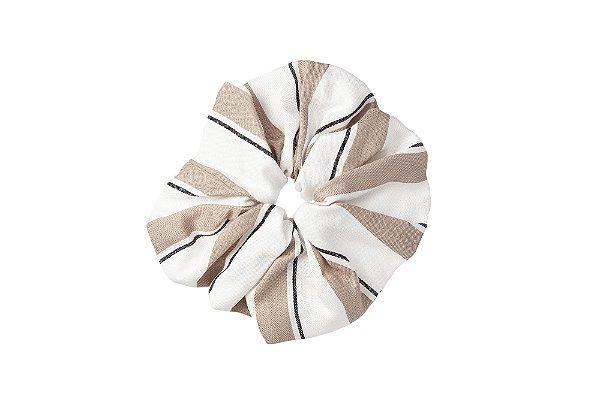 Elástico - Scrunchie Branco Listras Fendi e Preta