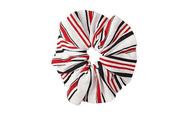 Elástico - Scrunchie de Linho Listrado Vermelho, Preto e Branco