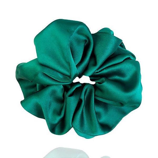 Elástico- Scrunchie de Cetim Verde Esmeralda