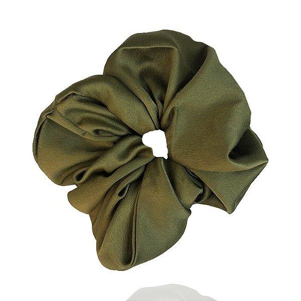 Elástico- Scrunchie de Cetim Verde Oliva