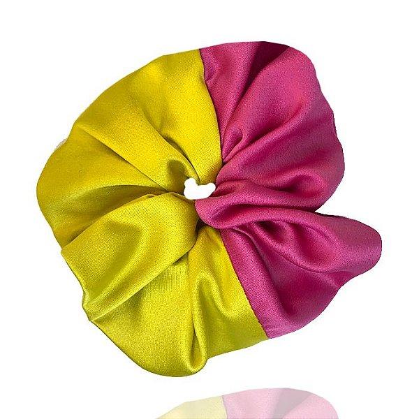 Elástico- Scrunchie Duas Cores Pink + Verde Limão