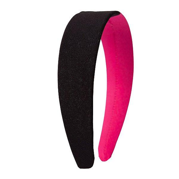Tiara Flat Duas Cores Pink e Preto