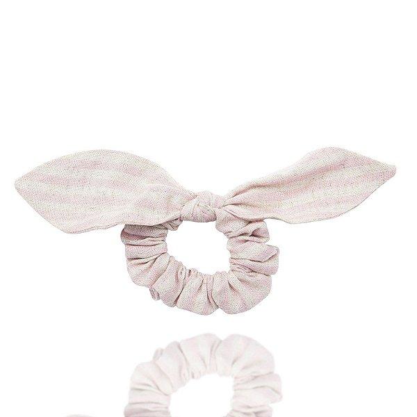 Elástico com Mini Laço de Linho Listrado Rosa e Mescla