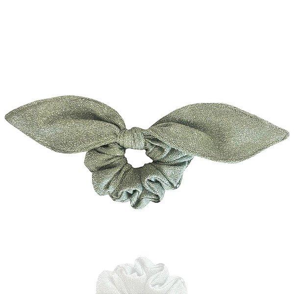 Elástico com Mini Laço de Lurex Verde Claro