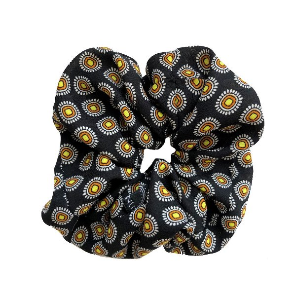 Elástico - Scrunchie Estampado Preto Amarelo e Laranja