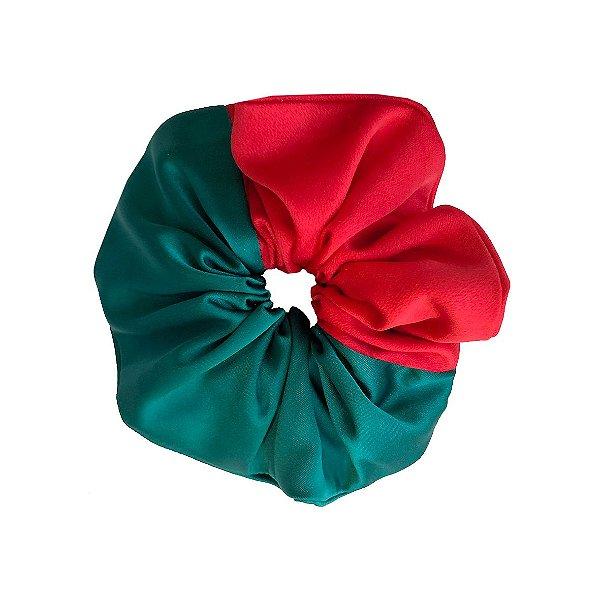 Elástico - Scrunchie de Cetim Verde e Vermelho