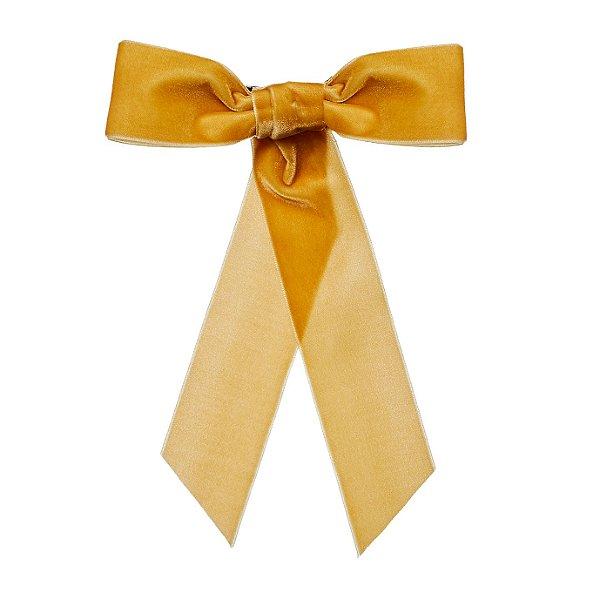 Fivela de Laço de Veludo Amarelo Mostarda