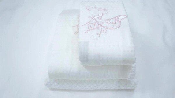 Jogo de toalha Bordado Borboleta  - Enxovart