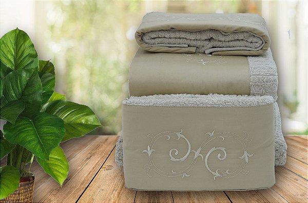 Jogo de toalha com aplique Percal 200 Fios Importado Bordado Arabesco – Enxovart