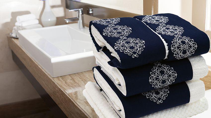 Jogo de toalha com aplique Percal Importado 200 Fios Bordado Celine – Enxovart