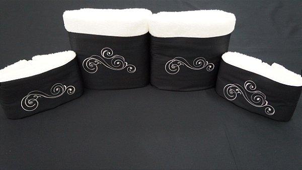 Jogo de toalha com aplique Percal 200 Fios Importado Bordado Vetore – Enxovart