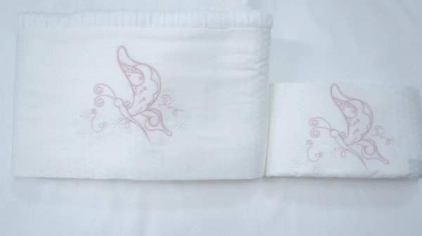 Jogo de toalha com aplique 400 Fios Egípcios Bordado Borboleta – Enxovart
