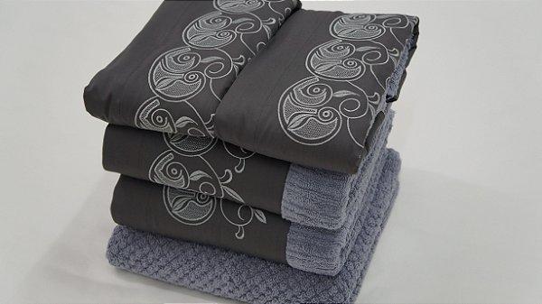 Jogo de toalha com aplique 400 Fios Egípcios Bordado Setácio – Enxovart