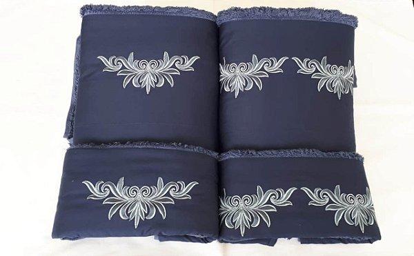 Jogo de toalha com aplique 400 Fios Egípcios Bordado Cleo – Enxovart