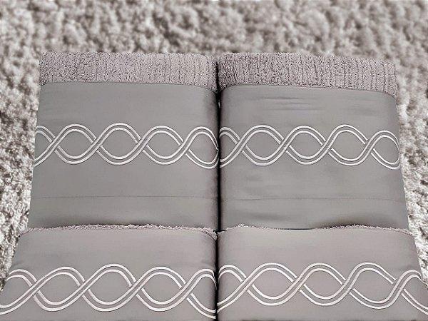 Jogo de toalha com aplique 400 Fios Egípcios Bordado Infinito – Enxovart