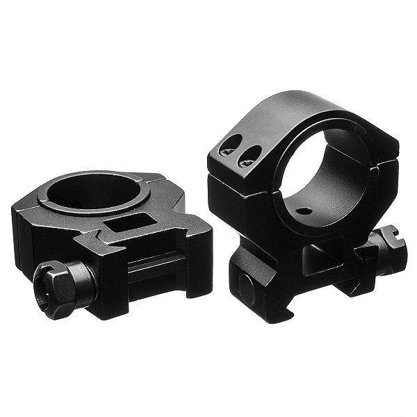 Suporte para trilho Picatinny em alumínio Tasco p/ lunetas de 1pol. ou 30 mm médio