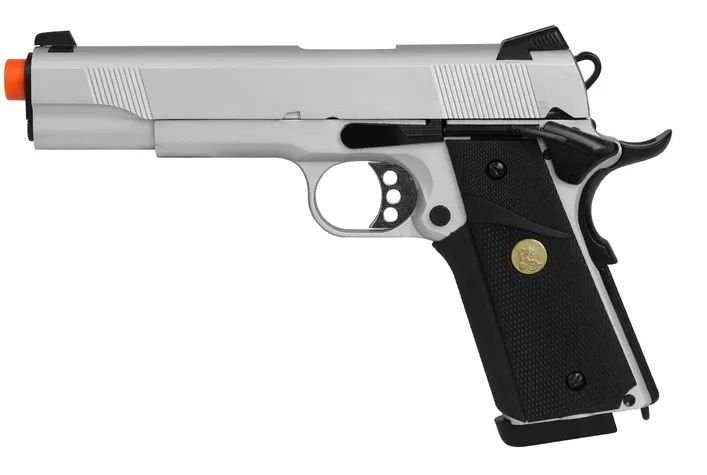 PISTOLA AIRSOFT GBB COLT 1911 728Y BLOWBACK FULL METAL + CASE EXCLUSIVA + MAGAZINE EXTRA - DOUBLE BELL