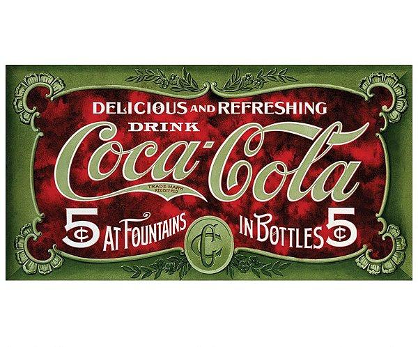 Placa Metálica Decorativa Coke 5 Dollars
