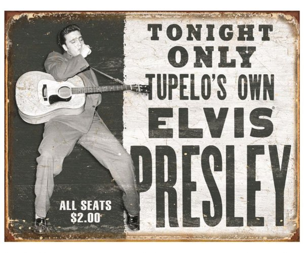Placa Metálica Decorativa Elvis Tupelo's Own