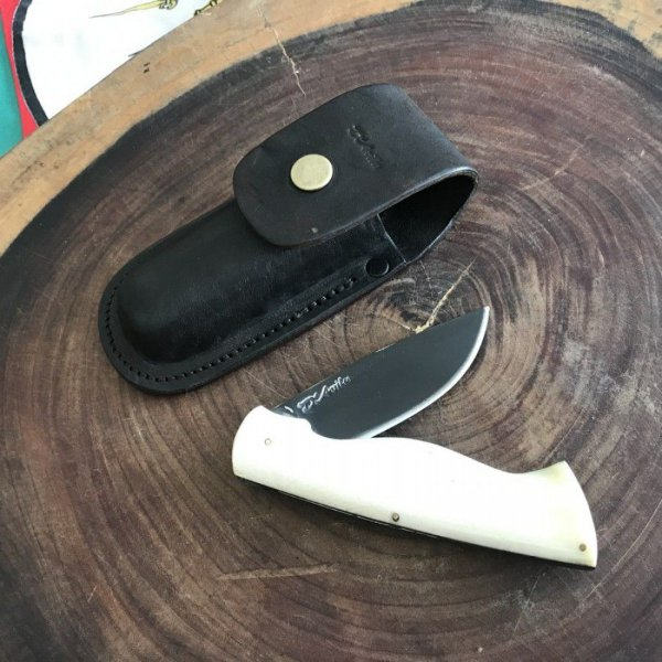 Canivete em aço carbono 5160, Acabamento FOSFATIZADO LISO, Cabo em Osso - D´AVILA
