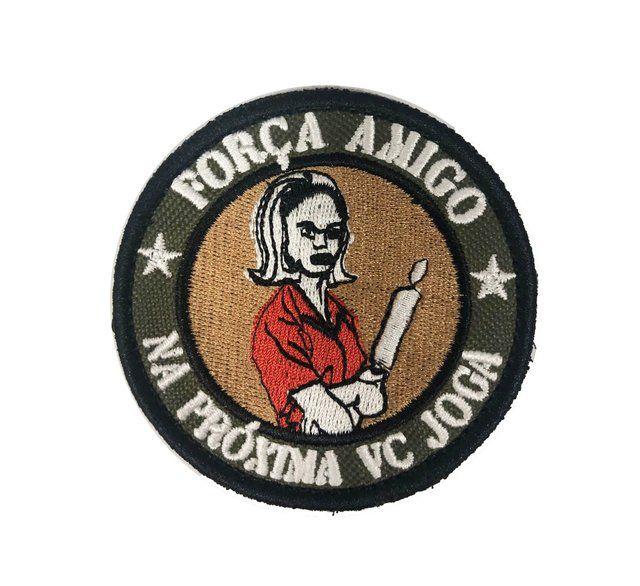 PATCH BORDADO FORÇA AMIGO - PONTO MILITAR