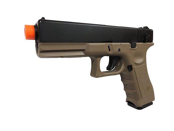 Pistola Airsoft GBB Green Gás Glock R18 Blowback (Full) Tan - Army Armament