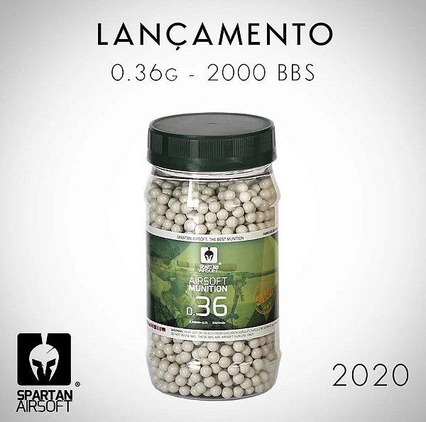 BBs SPARTAN 0,36 Brancas - Pote com 2000 Bolinhas