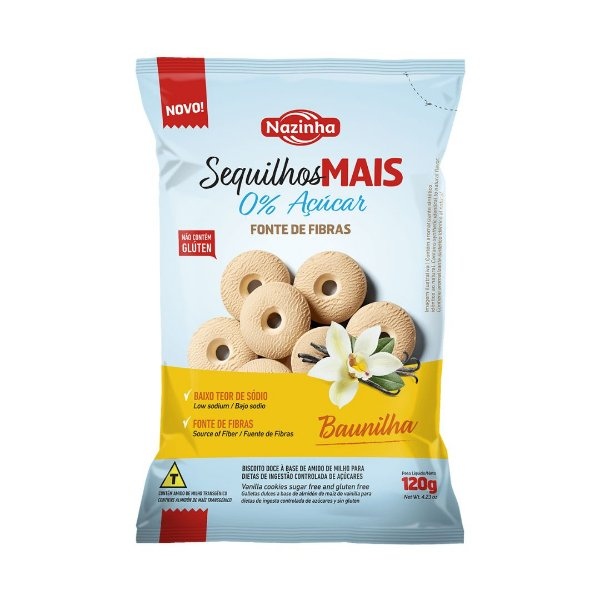 Sequilho Zero Açúcar Nazinha Baunilha