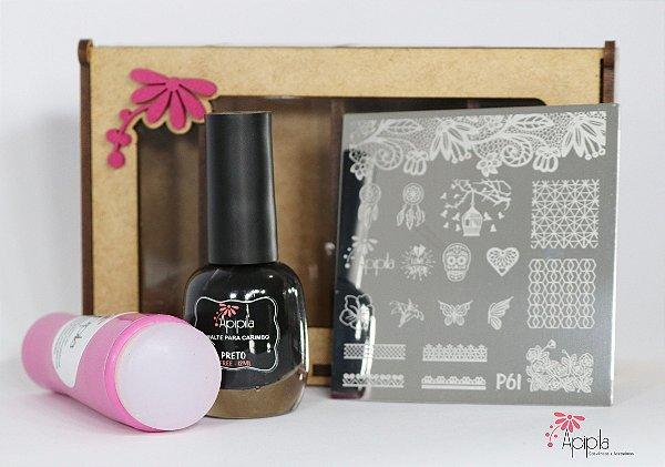 Caixa Kit Apipila P61 + Esmalte Preto e Carimbo Duplo