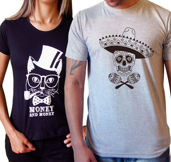 Duo Baby look Gato Money & Camiseta Caveira Mexicana