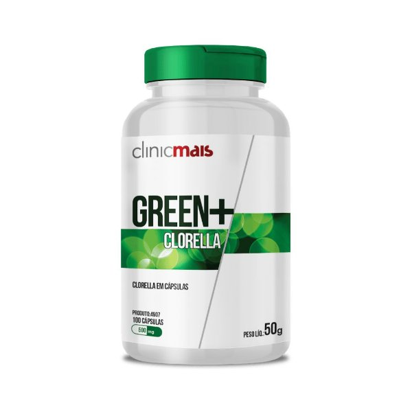 Green+ Clorella - Clorella em cápsulas - 100 caps - 50g - ClinicMais