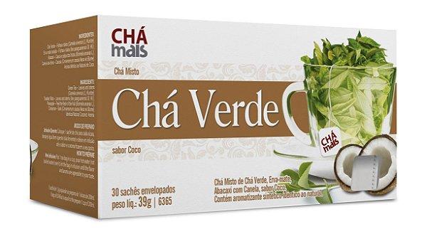 Cha Verde, sabor Coco  - CháMais - 30 Sachês