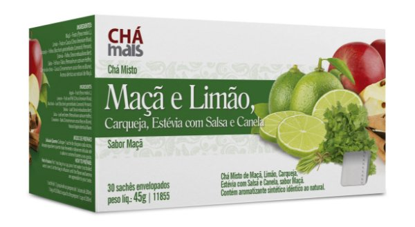 Chá Misto de Maçã e Limão, sabor Maçã - CháMais - 30 Sachês